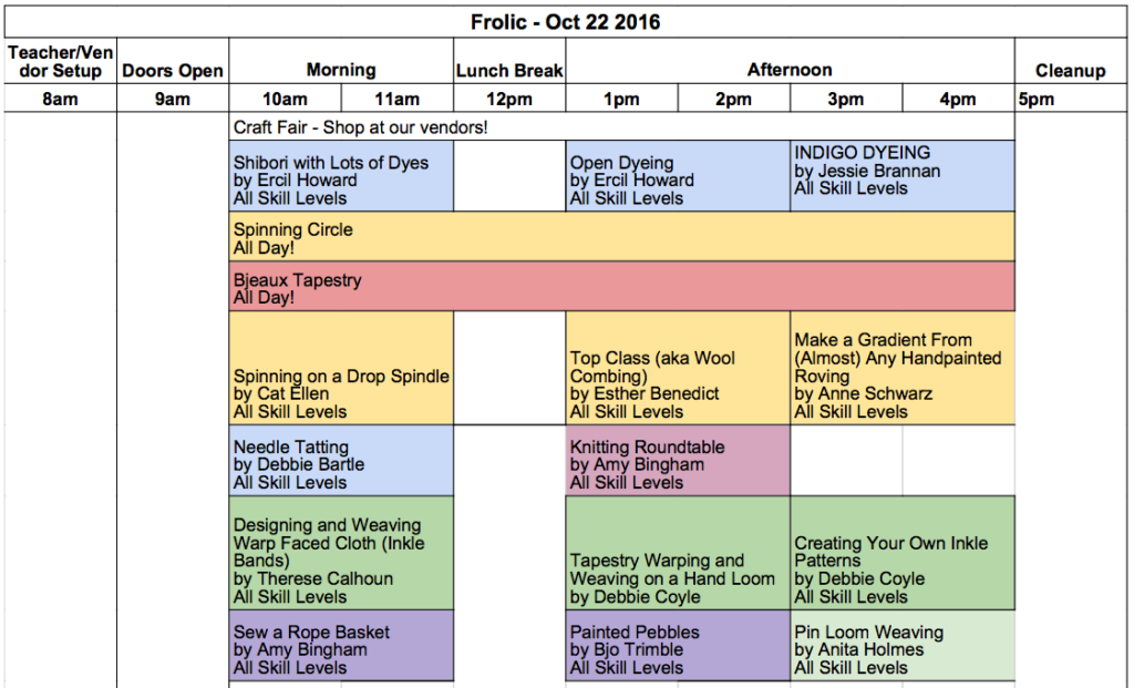 Frolic Class Schedule is Available!