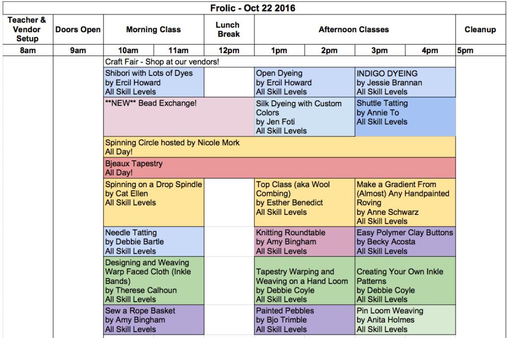 Fall Fiber Frolic Class Descriptions!