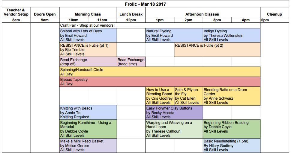 Spring Frolic Class Descriptions