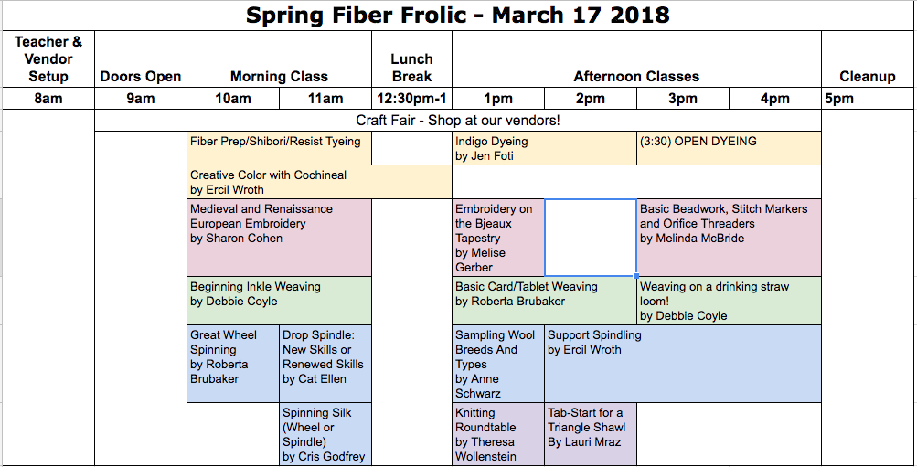 2018 Spring Frolic Classes